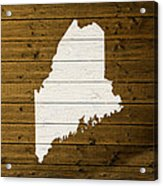 Map Of Maine State Outline White Distressed Paint On Reclaimed Wood Planks. Acrylic Print