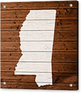 Map Of Mississippi State Outline White Distressed Paint On Reclaimed Wood Planks. Acrylic Print