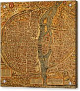 Map Of Paris France Circa 1550 On Worn Canvas Acrylic Print
