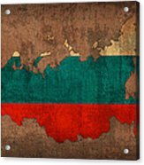 Map Of Russia With Flag Art On Distressed Worn Canvas Acrylic Print