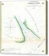Map Of Sabine Pass  Texas  Louisiana Acrylic Print