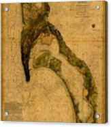 Map Of San Diego Bay California Circa 1857 On Worn Distressed Canvas Parchment Acrylic Print