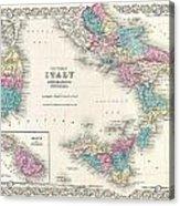 Map Of Southern Italy Sicily Sardinia And Malta Acrylic Print