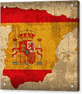 Map Of Spain With Flag Art On Distressed Worn Canvas Acrylic Print