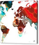 Map Of The World 5 -colorful Abstract Art Acrylic Print