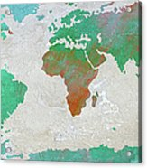 Map Of The World - Colors Of Earth And Water Acrylic Print