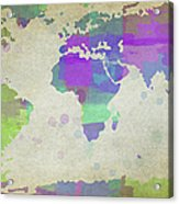 Map Of The World - Plaid Watercolor Splatter Acrylic Print