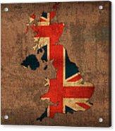 Map Of United Kingdom With Flag Art On Distressed Worn Canvas Acrylic Print
