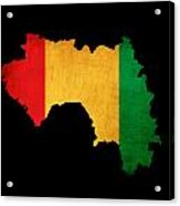 Map Outline Of Guinea With Flag Grunge Paper Effect Acrylic Print