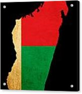 Map Outline Of Madagascar With Flag Grunge Paper Effect Acrylic Print