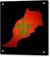 Map Outline Of Morocco With Flag Grunge Paper Effect Acrylic Print