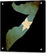 Map Outline Of Somalia With Flag Grunge Paper Effect Acrylic Print