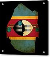 Map Outline Of Swaziland With Flag Grunge Paper Effect Acrylic Print