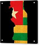 Map Outline Of Togo With Flag Grunge Paper Effect Acrylic Print