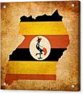 Map Outline Of Uganda With Flag Grunge Paper Effect Acrylic Print