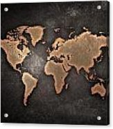 Map  The Continents  Grunge Acrylic Print