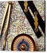 Map With Compass Tools Acrylic Print
