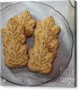 Maple Leaf Cookies And Milk - Food Art - Kitchen Acrylic Print