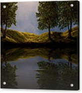 Maples In Moonlight Reflections Acrylic Print