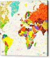 maps pointilism World Map with leaves Acrylic Print