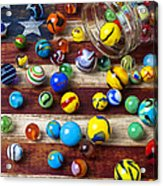Marbles On American Flag Acrylic Print by Garry Gay