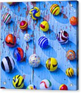Marbles On Blue Board Acrylic Print