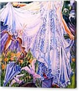 March Bride With Boxing Hares  Acrylic Print by Trudi Doyle