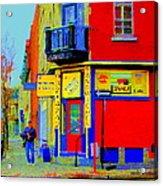 Marche Unique Cafe Sandwich Depanneur Rue St. Jacques St. Henri  Street Scenes Carole Spandau Acrylic Print