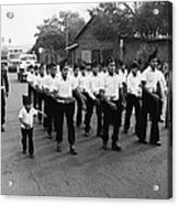 Marchers Number 1 100th Anniversary Parade Nogales Arizona 1980 Black And White  Acrylic Print