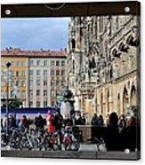 Mareinplatz And Glockenspiel Munich Germany Acrylic Print