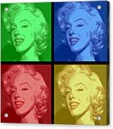 Marilyn Monroe Colored Frame Pop Art Acrylic Print by Daniel Hagerman