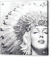 Marilyn Monroe In Headdress Pencil Portrait Acrylic Print