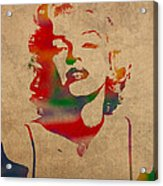 Marilyn Monroe Watercolor Portrait On Worn Distressed Canvas Acrylic Print