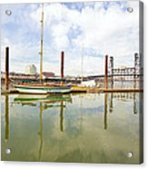 Marina Along Willamette River In Portland Acrylic Print