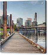 Marina Along Willamette River In Portland Oregon Downtown Acrylic Print