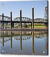 Marina By Willamette River In Portland Oregon Acrylic Print