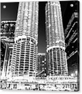 Marina City Towers At Night Black And White Picture Acrylic Print