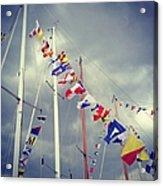 Marine Signal Flags On Mast Against A Acrylic Print