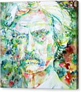 Mark Twain - Watercolor Portrait Acrylic Print by Fabrizio Cassetta