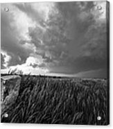 Marker - Black And White Photo Of Stone Marker And Brewing Storm In Kansas Acrylic Print