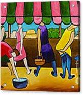 Market Day Under Pink Awning Acrylic Print