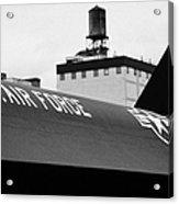 markings on a Lockheed A12 Blackbird on the flight deck of the USS Intrepid  Acrylic Print