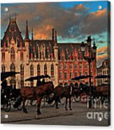 Markt Square At Dusk In Bruges Acrylic Print