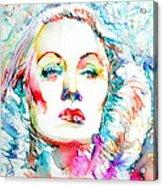 Marlene Dietrich - Colored Pens Portrait Acrylic Print