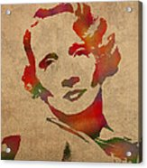 Marlene Dietrich Movie Star Watercolor Painting On Worn Canvas Acrylic Print