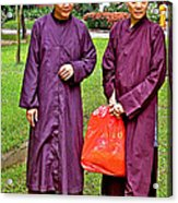 Maroon-robed Monks At Buddhist University In Chiang Mai-thailand Acrylic Print