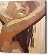 Marquetry Wood Work The Lady Acrylic Print