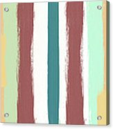 Marsala Stripe- Abstract Pattern Painting Acrylic Print