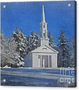 Martha Mary Chapel In Winter Acrylic Print by Jayne Carney