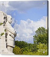 Martin Luther King Jr Memorial And The Washington Monument Acrylic Print